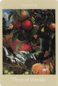 Three of Worlds -- Voyager Tarot deck.