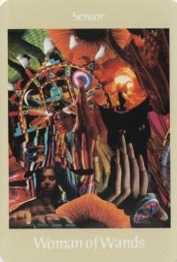 Woman of Wands -- Voyager Tarot deck.