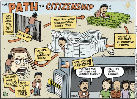 path to citizenship A path to citizenship is something that could be revisited by a future president  and congress, but it will not happen while obama is in the white house we rate .
