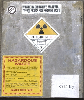 Unceremonious marking on radioactive waste materials inside the WIPP waste dump. People are supposed to know what this means in 10,000 years? Photo: Wikimedia Commons.