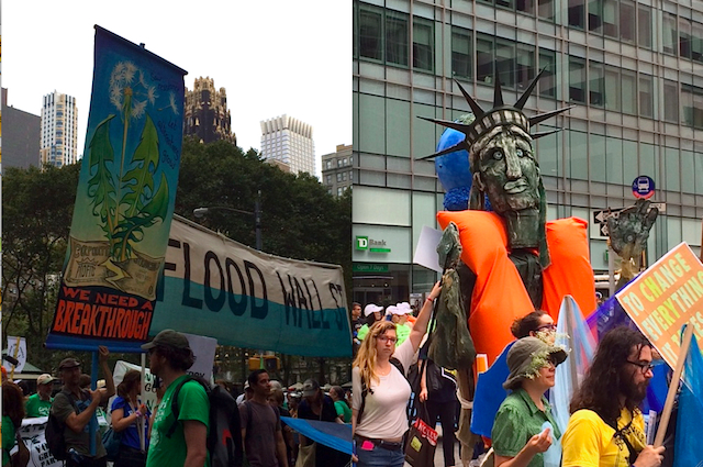 """This pair of photos is from yesterday's massive climate march in Manhattan. Early estimates put the turnout at about 310,000 marchers, although given that the march took about five hours, it might be significantly higher. The photo on the left, by Amanda Painter, shows a banner for """"Flood Wall Street,"""" a direct-action sit-in and blockade of Wall Street that was scheduled to happen today and involved Chris Hedges. The photo on the right, by Hal J. Cohen, shows a puppet depicting what Lady Liberty might have to resort to if unmitigated global warming continues."""