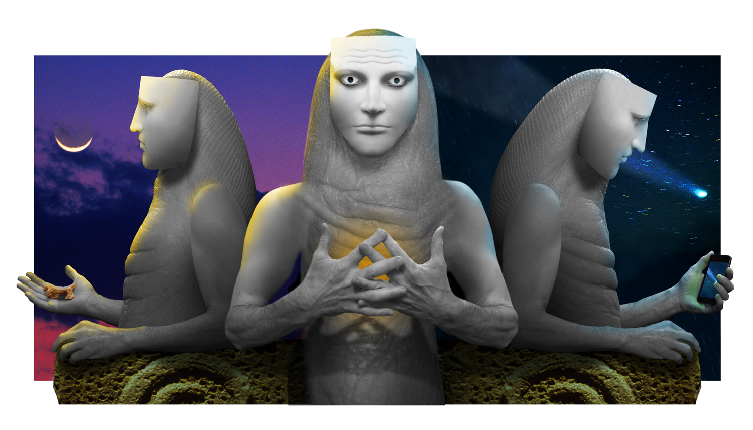 Awareness by Charlie Lemay, a triptych comprising Waking From the Dream / Dreaming of Being Awake / Projecting the Dream.