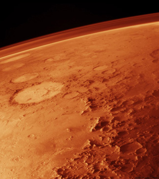 Mars with its atmosphere.