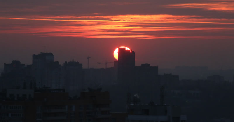 Moonset/Sunset from Kyiv, the night of Friday, Jan. 24.