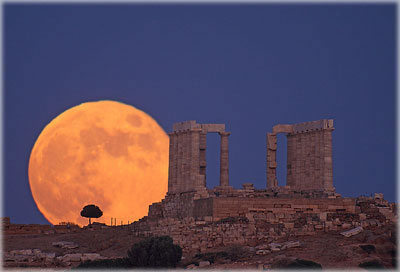 Selene Rising at Sounion, the temple to Neptune near Athens, Greece (summer 2011). Photo by Anthony Ayiomamitis.