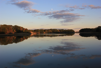 Waxing Moon over the Fore River outlet, Portland, Maine on Oct. 5. Photo by Amanda Painter.