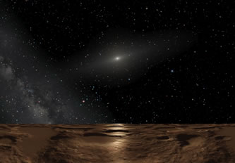 Sedna at Noon. Illustration Credit: Adolf Schaller, ESA, NASA.