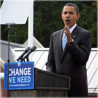 Barack Obama speaking at a campaign rally in Abington, PA. Image courtesy of Wikipedia.