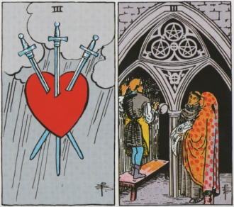 Three of Swords and Three of Pentacles - RWS Tarot deck.