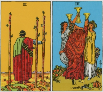 Three of Wands and Three of Cups - RWS Tarot deck.