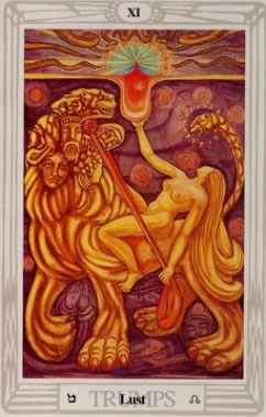 Lust - Crowley-Harris Thoth Tarot deck.