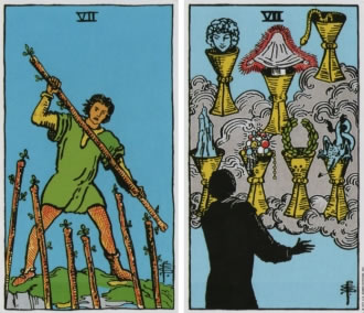 Seven of Wands and Seven of Cups - RWS Tarot deck.