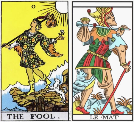 The Fool - RWS and Jodorowsky Camoin Tarot de Marseille tarot decks.