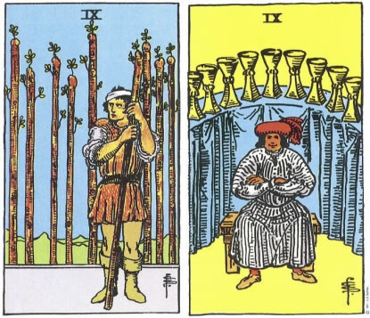 9 of Wands and 9 of Cups - RWS Tarot deck.