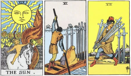 The Sun, 6 of Swords, 7 of Swords - RWS Tarot deck.