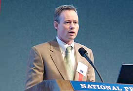 Mike Lofgren, Budget Analyst on Defense for the House Budget Committee, provides information on the 2005 Defense Appropriations Bill and its ramifications and allocation of funding. Photo courtesy of Global Security.