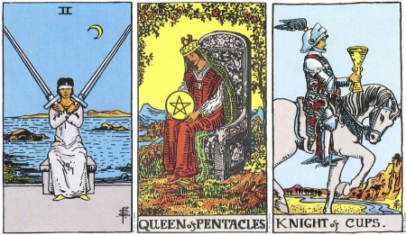 Two of Swords, Queen of Pentacles, Knight of Cups - RWS Tarot deck.