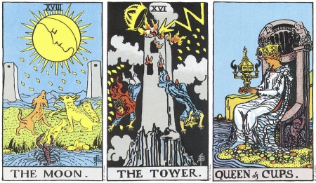 The Moon, The Tower, Queen of Cups -- RWS Tarot deck.