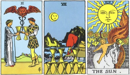Two of Cups, Eight of Cups, The Sun - RWS Tarot deck.