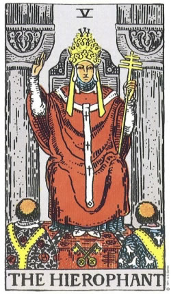The Hierophant -- RWS Tarot deck.