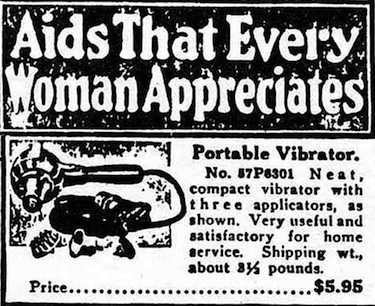 Newspaper ad for antique vibrator.
