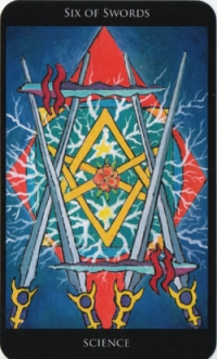 Six of Swords -- Rosetta Tarot deck.