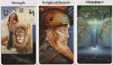 Strength, Knight of Swords, Three of Cups -- Röhrig-Tarot deck.