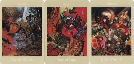 Sage of Worlds, Four of Cups, Ten of Worlds -- Voyager Tarot deck.
