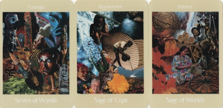 Seven of Wands, Sage of Cups, Sage of Worlds -- Voyager Tarot deck.