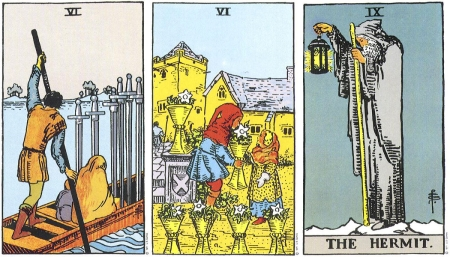 Six of Swords, Six of Cups, The Hermit -- RWS Tarot deck.