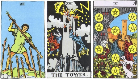 Seven of Wands, The Tower, Ten of Pentacles -- RWS Tarot deck.