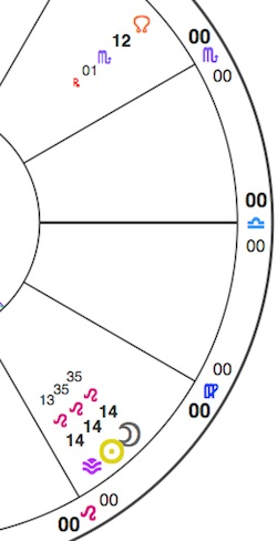 Simplified chart section for the Leo New Moon, showing the Sun and Moon conjunct Vesta (purple chevron) in Leo. Also shown is the lunar North Node, standing in visually for Psyche, which is at 15+ Scorpio.