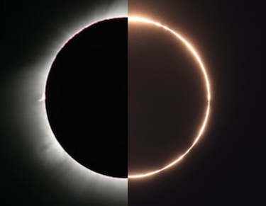 In a spliced photo, yesterday's hybrid eclipse is shown as a total solar eclipse as seen from west of the Galapagos Islands, and as an annular eclipse from Panama. Photo: NASA's APOD / Fred Espenak / Stephan Heinsius