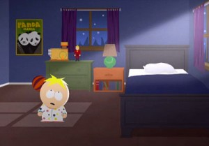 Butters prays to the all-knowing NSA, asking for protection for his friends, his family and even Cartman. Image: South Park Studios.