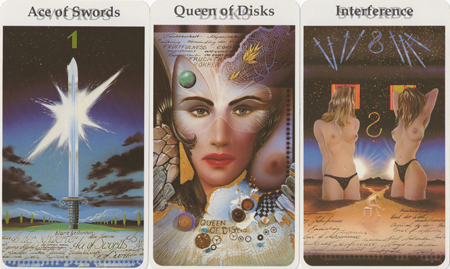 Ace of Swords, Queen of Disks, Eight of Swords -- Rohrig Tarot deck.
