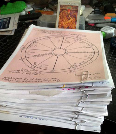 Chart files used in the creation of The Mars Effect. Each group covers one sign, including a chart for the ingress of the Sun into that sign, minor planet listings, the prior year's reading, handwritten notes and a sketch that integrates the different astrological systems into one diagram relevant to your sign or rising sign. Photo by Eric Francis.