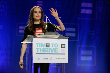 Actress Ellen Page comes out as gay at the Human Rights Campaign's Time to Thrive Conference, on Friday, February, 14, 2014 in Las Vegas. Photo by Jeff Bottari.