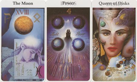 The Moon, Four of Disks, Queen of Disks -- Rohrig Tarot deck.