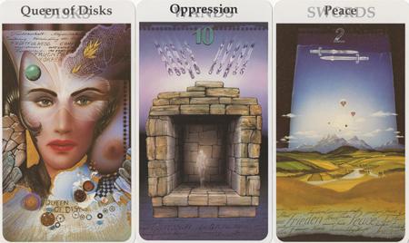 Queen of Disks, Ten of Wands, Two of Swords -- Rohrig Tarot deck.