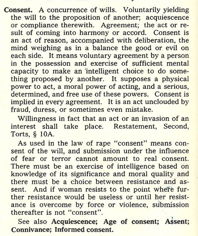"Definition of ""consent"" from Black's Law Dictionary. Sexual consent is listed in its own paragraph."