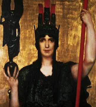 Are you strategizing your creative expression or stuck in an outdated defense mechanism? Pallas Athena, by Franz von Stuck (1863-1928); held in The Bridgeman Art Library.