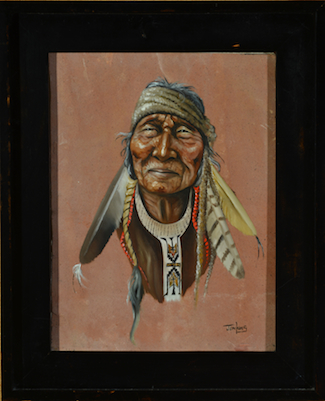 "The sandstone painting of a Native American by ""Jenkins."""